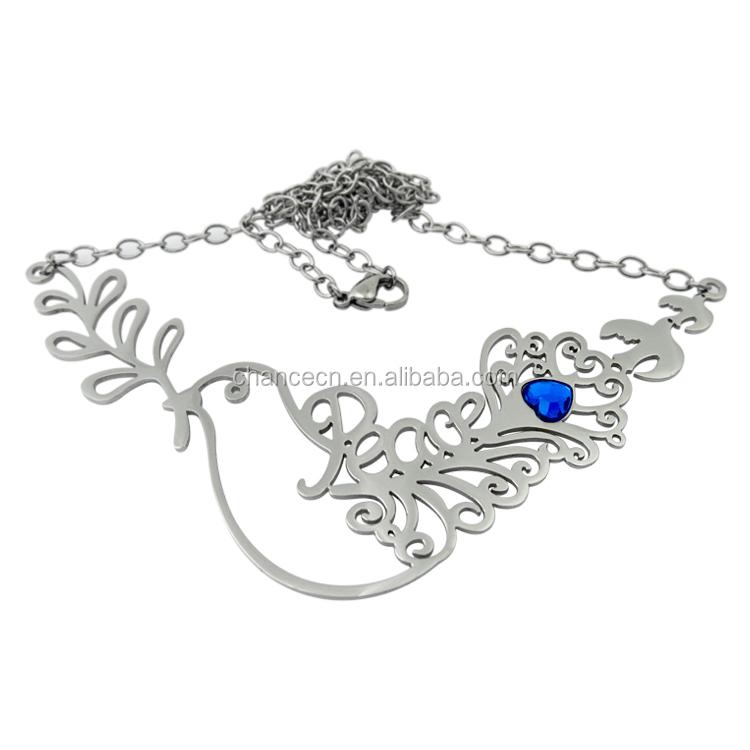 Belas jóias colar de pingente de coração de cristal de ouro pombo