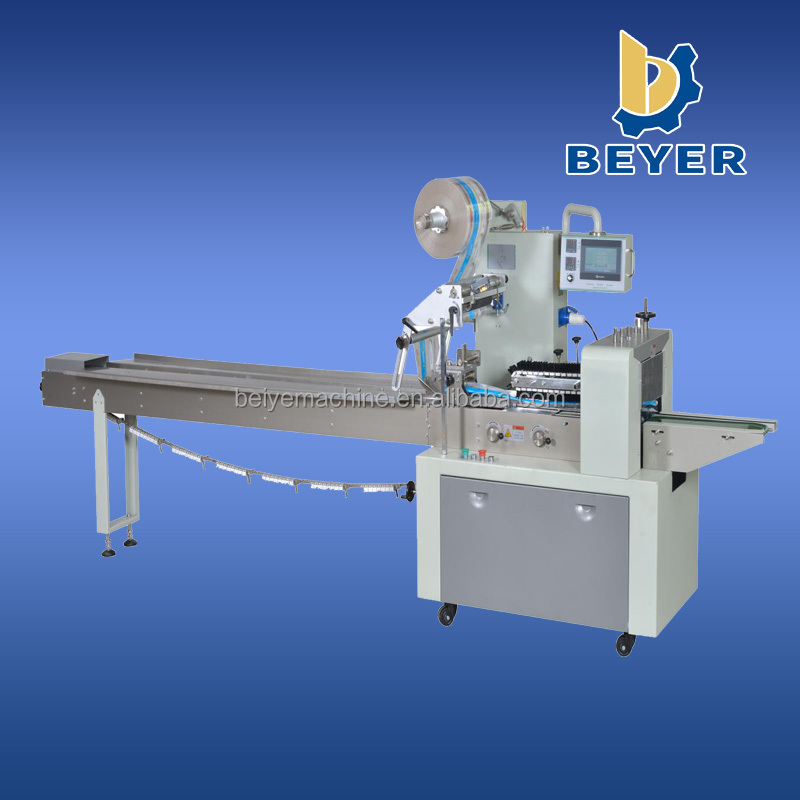 Horizontal packaging machine for bread,cake,hardwares, soap and pillow type wrapper