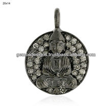 Buddha Charm Pave Diamond Handmade Wholesale Pendant Jewelry