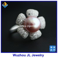 JL Jewelry Beatiful Flower Natural Pink /Black /white Pearl Bead Silver Ring