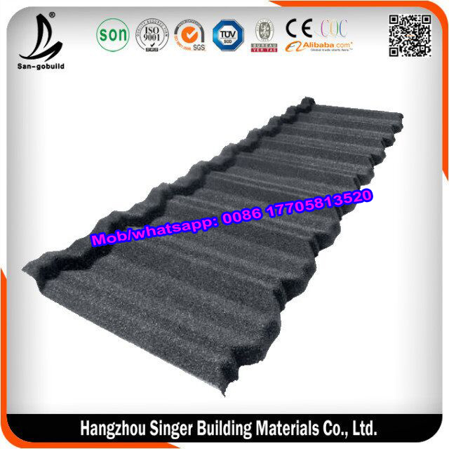 House roof model cheap prices stone coated metal roofing tile(No fade , No leak )