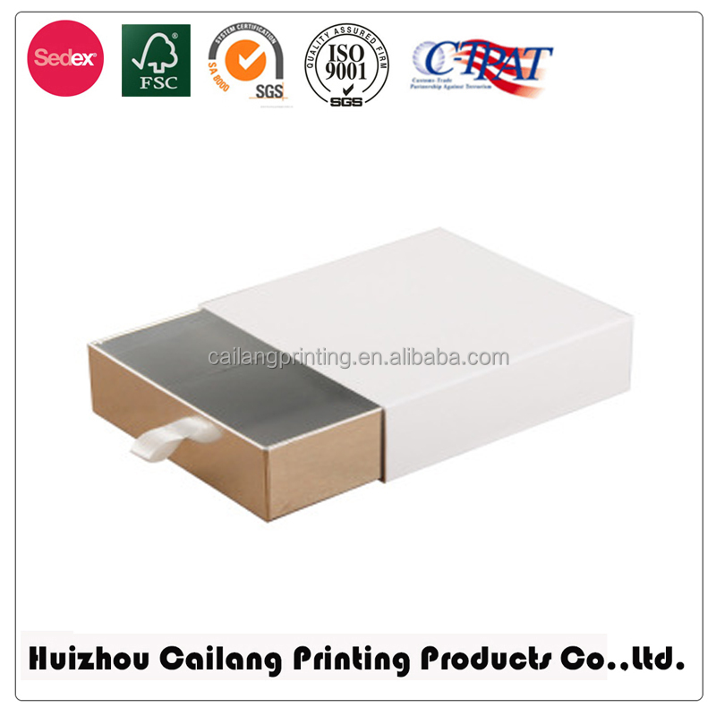 drawer box packaging paperboard material cosmetic industry use Boxes cardboard shell and slide tray type paper box