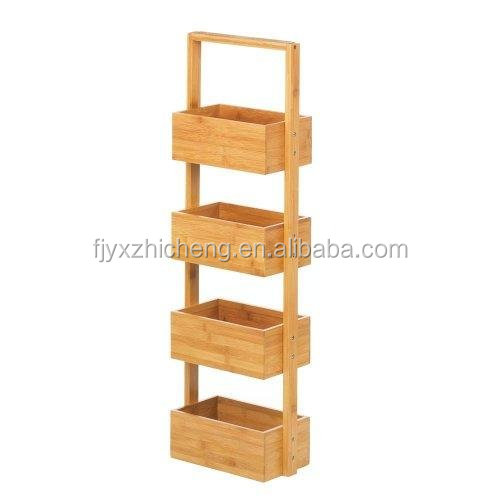 Free Standing Bamboo Bathroom Storage Shelves for Towels, Soap, Shampoo, Lotion, Accessories