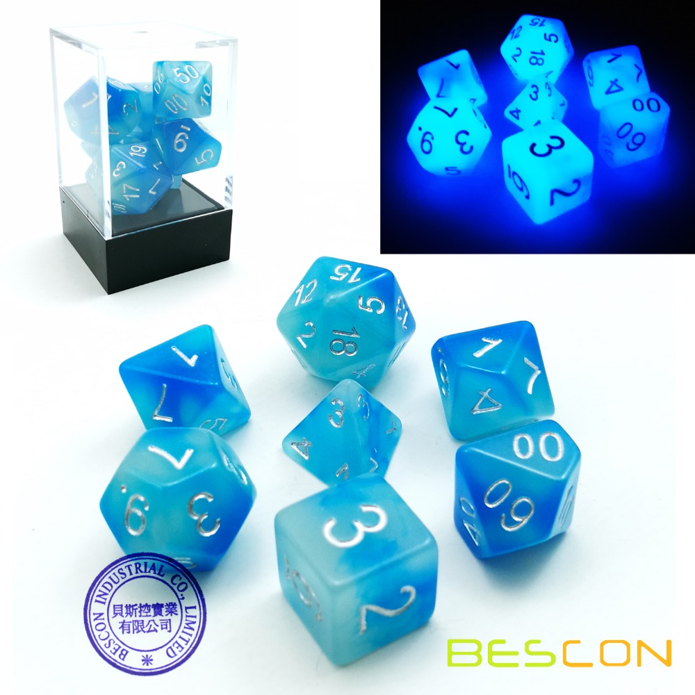 Bescon Gemini Glowing Polyhedral Dice 7pcs Set ICY ROCKS, Luminous RPG Dice Set d4 d6 d8 <strong>d10</strong> d12 d20 d%, Brick Box Packaging