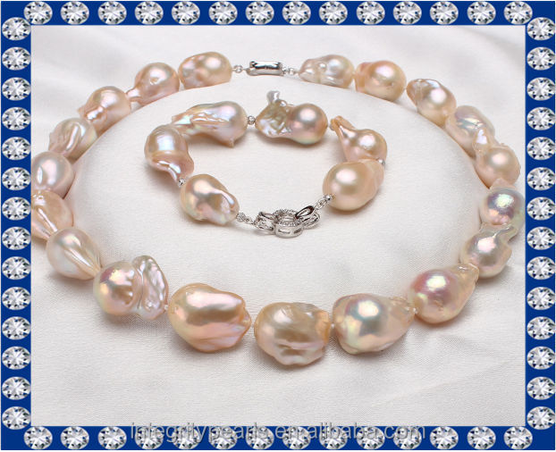 large size baroque nucleated peach original pearl sets