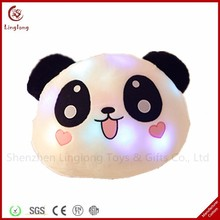 Custom Animal Head Shaped Pillow Led Light Up Plush Panda Pillow Led Glowing Panda Plush cushion