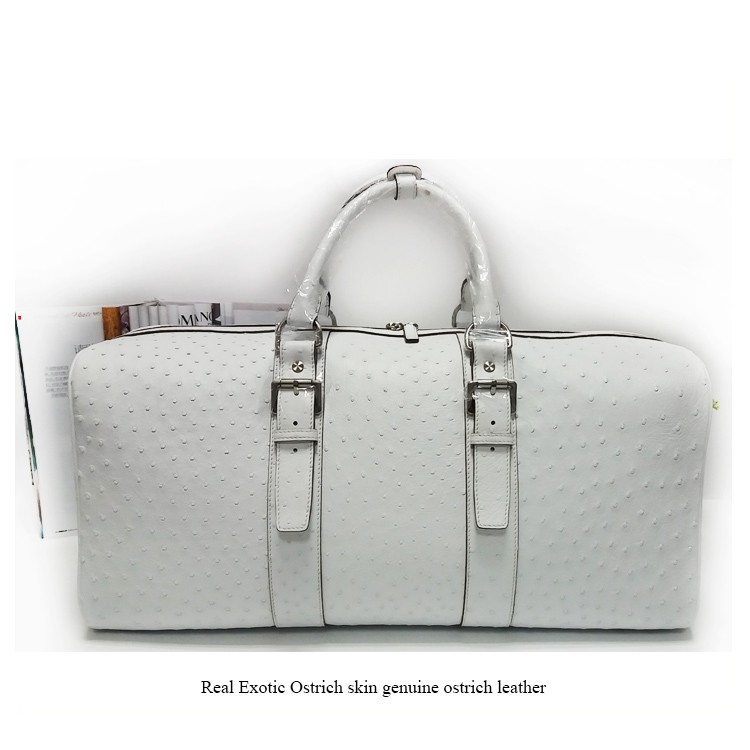 Luxury unisex off white real exotic genuine ostrich skin leather duffle bag travel weekend bag