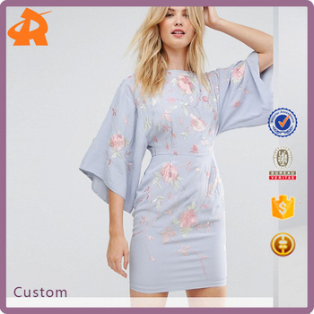 China Products Factory Small Quantity TALL Kimono Mini Dress With Embroidery Lady Evening Wear Dress
