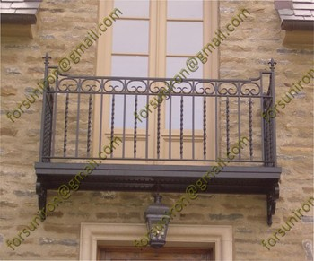 Decorative wrought iron balcony supplied by China manufacturer