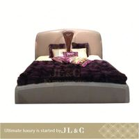 JB75-01 Modern Leather antique four poster wooden bed for bedroom set from JLC furniture