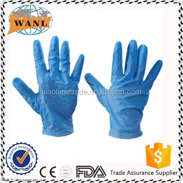 Disposable Powder/Powder-free Blue Color Vinyl Glove