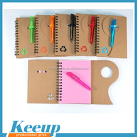 Eco-friendly Custom logo print Cute Cheap kraft paper cover spiral Notebook with ballpen for promo gifts