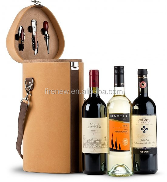Wine Gift Box, Faux Leather Wine Carrier, PU Wine Packing for 3 Botltes