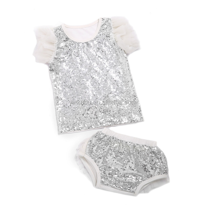 Gold supplier Yiwu baby clothing factory sequin baby newborn wear sleeveless top and ruffle chiffon bloomer wholesale alibaba