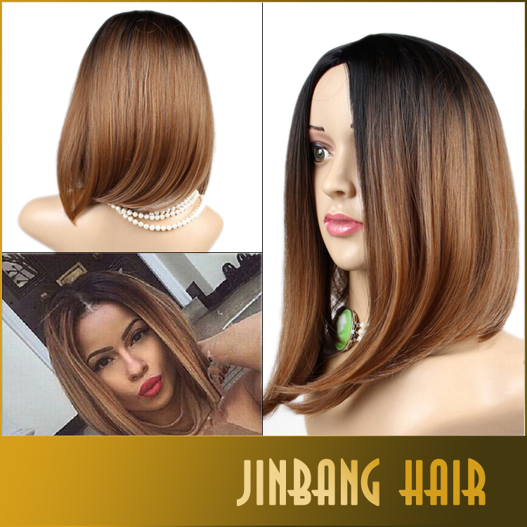 Hot Ombre Color Black Brown Synthetic Bobo Wigs Straight High Temperature Fiber Wigs Women's Hairstyle Fibras Cabelo Wigs