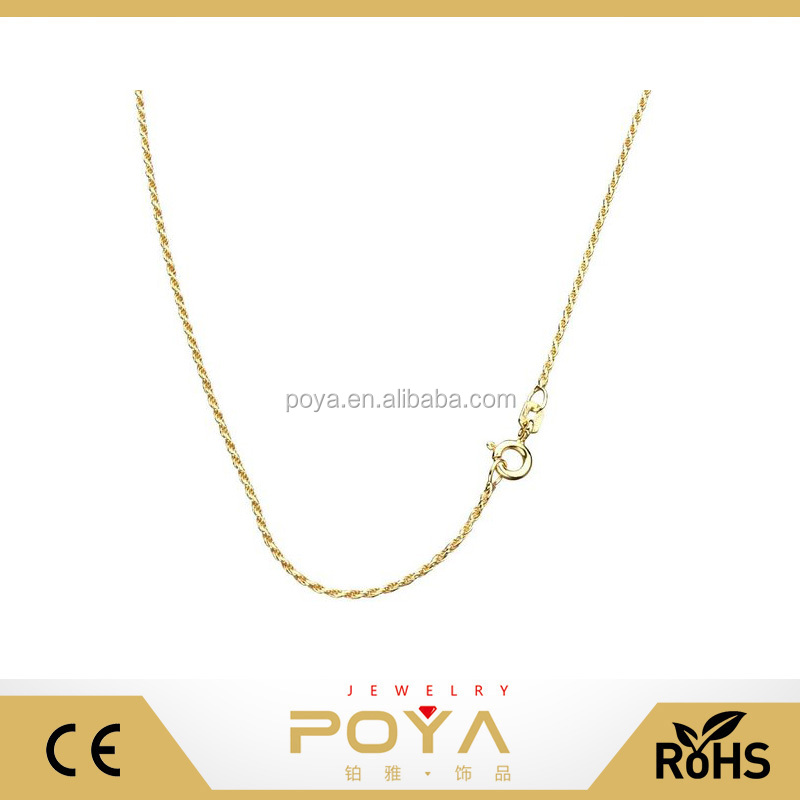 POYA Jewelry 18k Gold-Flashed Sterling Silver 1mm Rope Diamond Cut Chain Necklace