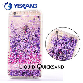 Soft TPU Dynamic Quicksand Liquid Glitter Phone Case For Iphone 7 Case TPU Transparent