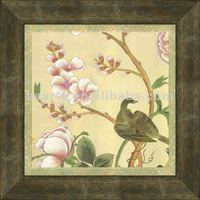 High quality Traditional Chinese style floral birds oil painting with frame for hall decoration, canvas print art on sale