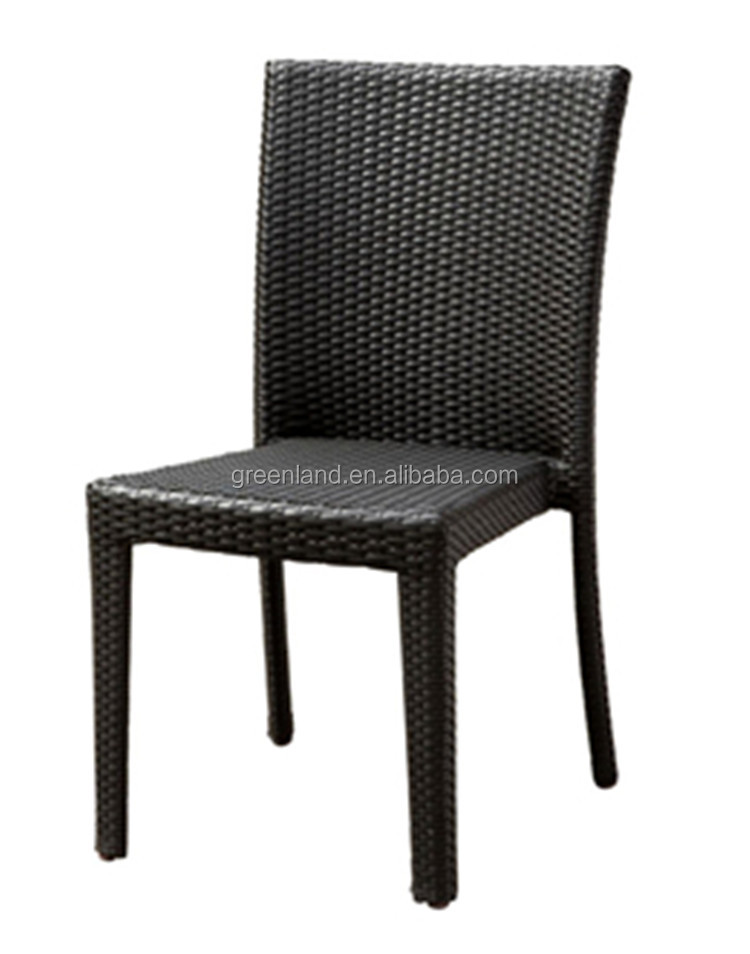 outdoor aluminium and rattan stackable garden armless chair