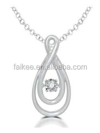 Whole Sales Sold 925 Sterling Silver Glittering Stars Moving CZ Rotatable Necklaces