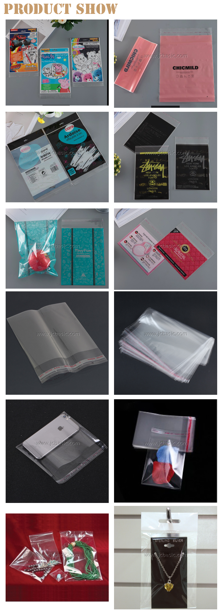 Clear Small Polybags Opp Plastic Packaging Poly Bags With Self Adhesive Seal Flap And round Hole