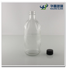 round clear 500ml glass bottle for juice liquor with screw lids wholesale