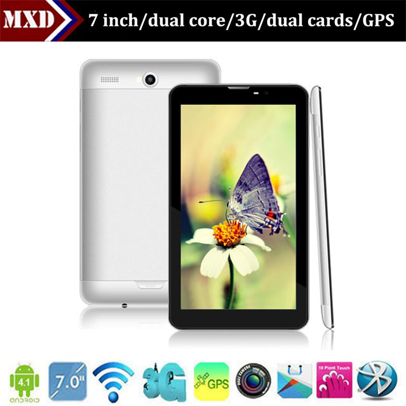 New arrival 7 inch 3g tablet MTK6577 dual core 1.0GHz dual SIM card with OGS screen GPS and bluetooth