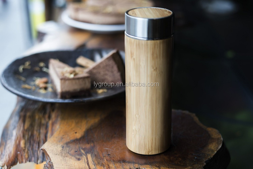 Wholesale 400ml Unique Bamboo Mug Tumbler/Wooden Travel Mug for Coffee/bamboo insulated Drink Tumbler