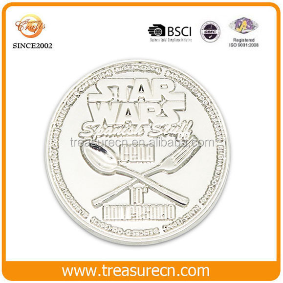 Top sale cheap customized silver sports challenge coins no minimum
