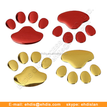 Popular 3D Pets Paw Car Sticker Window Badge Dog Foot Prints Animal Decal Color Silver