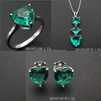 Green Jewelry Spinel Stone Sets Heart Shape Silver Wholesale DR01407149S-HT-G