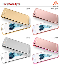 For iphone 6s electroplate TPU mobile phone case rose gold color customized design phone cover