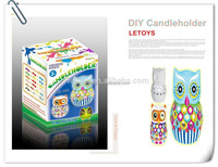 Owl animal Ceramics candle holder / DIY Free Painting Candlestick