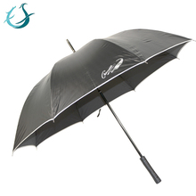 Big black uv protection coated umbrella with silver rolled edge