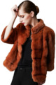 Khaki Fashion Fur Coat Real Mink Fur Coat with Seven Point Sleeves