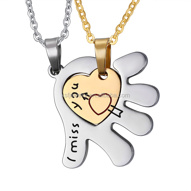 "China Jewelry Stainless Steel Heart Love Pendant WithLetter ""I miss <strong>U</strong>"" Couple Necklace"
