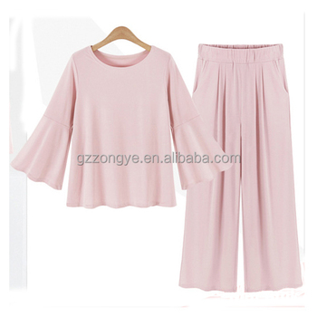 Wholesale boutique cotton clothing sets long sleeve long pants pink girl's clothes