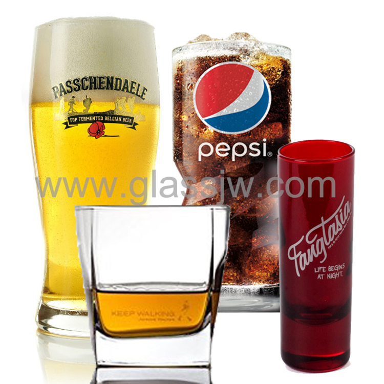 Clear Cheap Custom Logo Printed Drinking Glass Cup Glassware