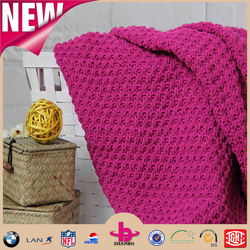 One Layer chunky cable knit chenille product blanket/chenille product