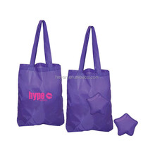 reusable polyester foldable bag folding shopping bag in star shaped