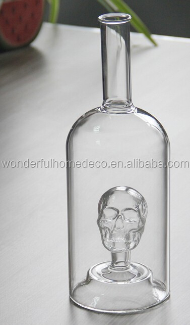 1000ml Glass Skull Bottle For Wine