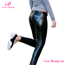 Wholesale waist stretch black butt lift pants leather leggings