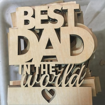 Laser Cutting Wooden Happy Birthday Greeting Card for  Fathe Day or Dad Birthday Card