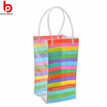 Eco-friendly clear pvc wine ice bag pvc wine gift ice bag with plastic handle
