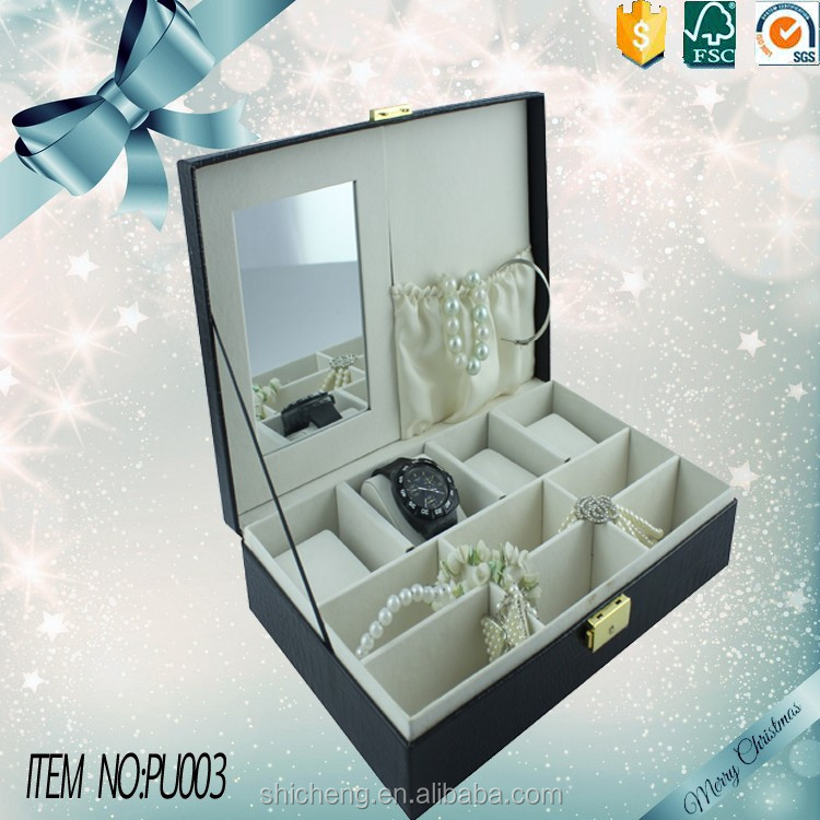 Luxury PU leather jewelry storage box with large mirror