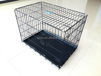 China manufacturer folding metal wire rabbit cage with removable plastic tray
