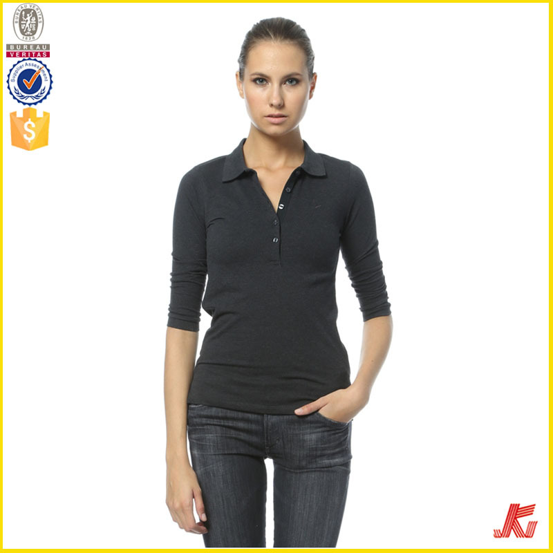 Women Plain Tight Fit Long Sleeve Polo T Shirt - Buy Long Sleeve ...