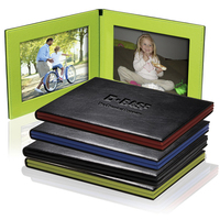 Classic Double Sides Picture Frame 4 x 6 Leather Folding Frame with Embossed Logo