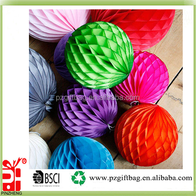 Plain color high quality party or christmas decorations paper honeycomb ball manufacturer