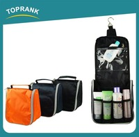 Toprank Alibaba Wholesale Custom Fashion Toiletry Wash Bag 800D Polyester Foldable Zipper Travel Toiletry Bag With Handle